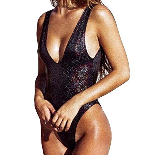 Donne Paillettes Pelle Off Spalla Push-Up Bikini Costume Da Bagno Monokini Costume Da Beachwear Set Swimwear Spiaggia Estate Pezzi Fascia Vita Alta B