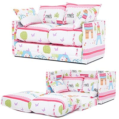Ready Steady Bed Paris City Design Children's Fold-Out Sofa Bed, Pink