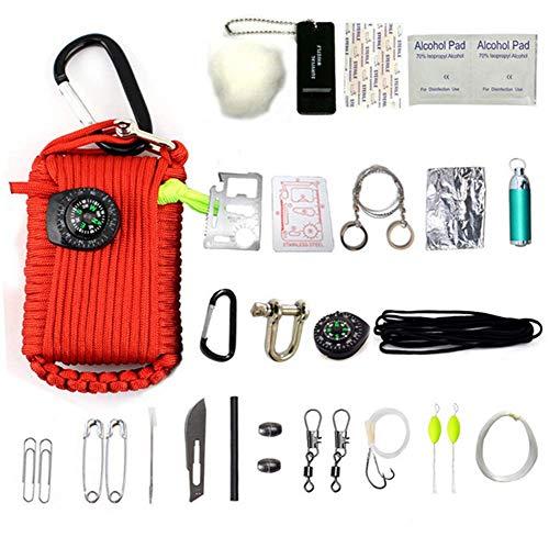 HW Kit De Survie d'urgence, 29 en 1 Ensembles De Premiers Soins De La Grenade Paracord Mini-Sifflet Ensemble De Démarrage du Survival Baits Compass,Red