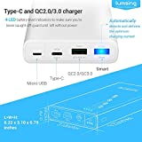 [Quick Charge 3.0 + USB-C] Lumsing 15000mAh Power Bank 3-Port Portable Charger External USB Battery Pack with USB Type-C Input & Output QC3.0/2.0 Smart Tech for for Smartphones, Tablets and Cameras (White)