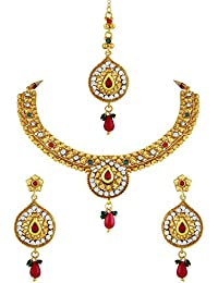 Asmitta Excellent Gold Plated Choker Style Necklace Set With Mangtikka For Women