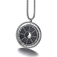 joielavie joyas colgante collar Yin Yang Tai Chi Ocho y Pa Kua de redondo piezas giratorio Religión estilo étnico regalo de acero inoxidable para los hombres