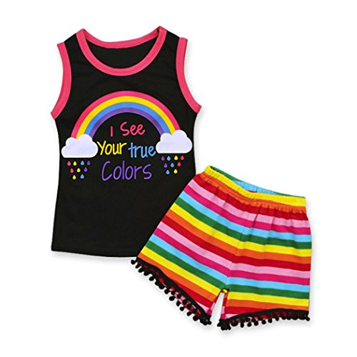 Beikoard Niña Vestido Liquidación, 2pcs Toddler Infant Baby Chicas Rainbow Carta Ropa Set Tops + Shorts Trajes (Negro, 130)