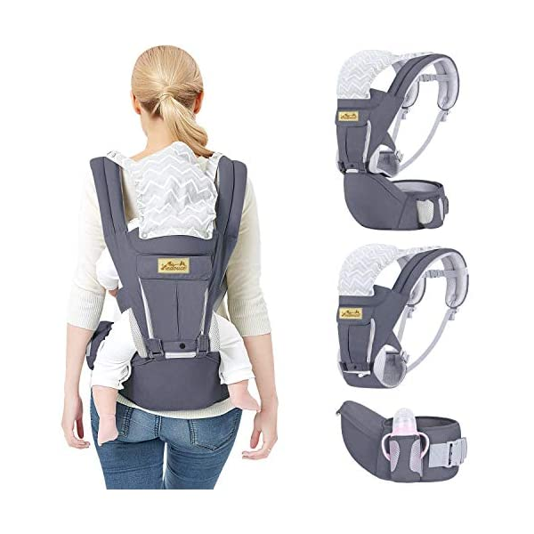 Viedouce Baby Carrier Ergonomic for Newborn,Pure Cotton Front Back Child Carrier with Detachable Hood Multi-Position Soft Backpack Carrier,Complete Safety Protection(0-48 Months) (Dark Gray) Viedouce 【More environmentally friendly】-Baby carrier has high quality pure cotton fabric with 3D breathable mesh take care of your health and the health of your baby; The detachable sun visor and wind cap provide warmth in the winter and freshness in the summer. At the same time, the zipper buckle is designed for easy disassembly and cleaning. 【More ergonomic】 -Baby carrier for newborn has an enlarged arc stool to better support the baby's thighs, the M design that allows the knees to be higher than the buttocks when your baby sits, is more ergonomic. 【Comfort and safety】 - The area near the abdomen is filled with a soft and thick sponge, reduces the pressure on the abdomen and gives more comfort to you and your baby. High quality professional safety buckles and attach, shock absorbing pads, are equipped to protect your baby. 4