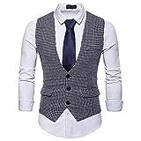 Herren Plaid Casual Weste Karo Houndstooth Anzugweste Wolle 3 Taschen 3 Knöpfe Fashion Vest Swallow Gird (Weiß, M)