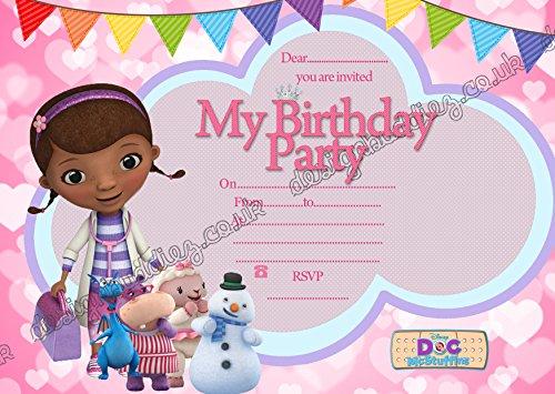 10x Geburtstag Einladung Doc McStuffin Dick Karten + kostenlose Umschläge (Einladungen Geburtstag Doc Mcstuffins)
