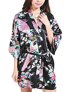 Camicia Da Notte Donna Kimono Estivo Elegante Giovane Hippie Stampa Fiore Corto Accappatoio Vestaglia V Scollo...
