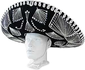 Chapeau mexicain noir avec des ornements Carnaval Sombrero