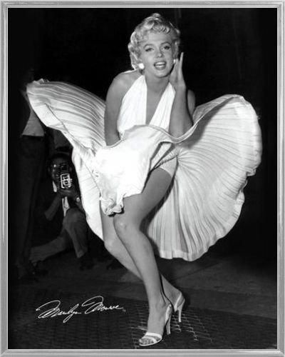 Marilyn Monroe Mini-Poster und Kunststoff-Rahmen - Das Verflixte 7. Jahr, Weißes Kleid (50 x 40cm)