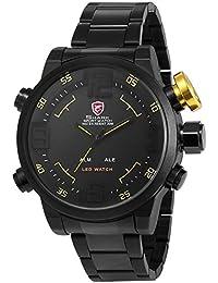 Shark SH107 - LED Reloj Hombre de Cuarzo, Correa de Acero Inoxidable Negro, Esfera Negra