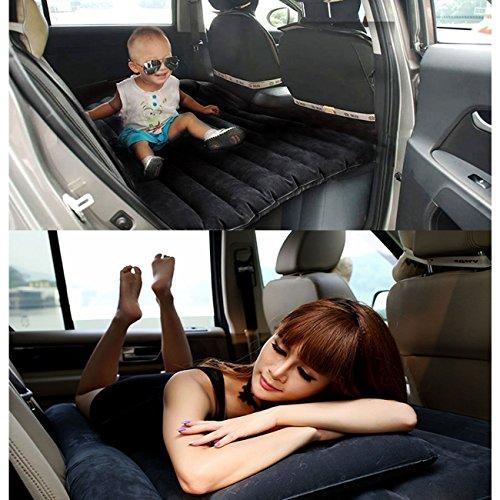 Materasso auto gonfiabile floccato sedile posteriore, materassino auto gonfiabile da campeggio cuscino lettino viaggio universale da bambini(nero)