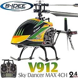 s-idee® 01141   V912 4.5 Kanal 2,4 Ghz Heli Hubschrauber RC ferngesteuerter Hubschrauber/Helikopter/Heli mit LCD Display und GYROSCOPE-TECHNIK + 2,4Ghz TECHNOLOGIE!!! für INNEN und AUSSEN brandneu mit eingebautem GYRO und 2.4 GHz Steuerung! FLUGFERTIG!