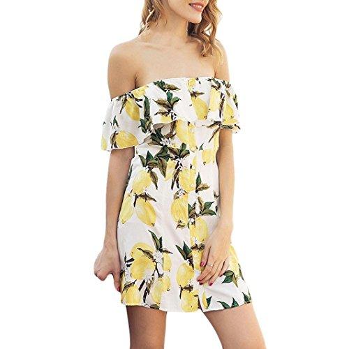 Jaysis Damen Sommerkleid Mode Beiläufig Kurzarm Obst Zitrone Drucken Kleid (S, Gelb)