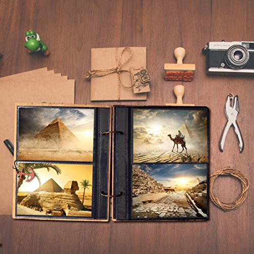 Giftgarden Columbus's Voyage Photo Album 6x4 Wooden Photo Book with 120 Pockets