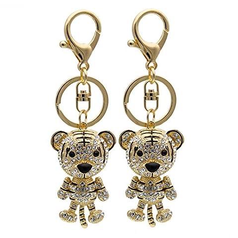 KesiErte Creative Diamond Zodiac Tiger Keychain Mâle et femme en général-alliage Tiger Car Key Pendant ,