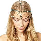 Yazilind Damen Hübsche Goldlegierung Blue Stone-Perlen-Tropfen-Haarband Kopfschmuck Kopfschmuck