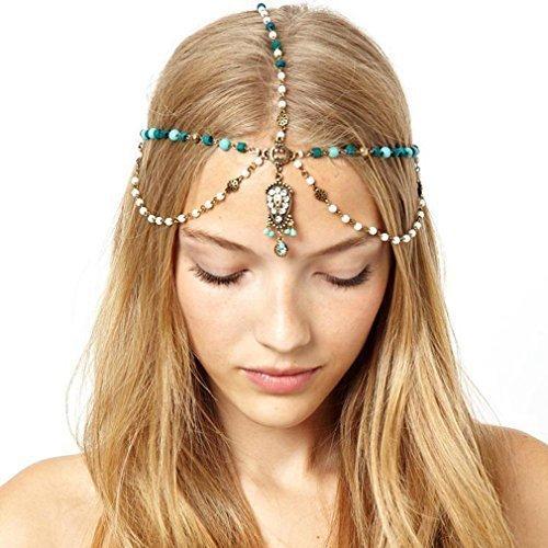 che Goldlegierung Blue Stone-Perlen-Tropfen-Haarband Kopfschmuck Kopfschmuck ()
