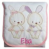 Cambiador Portátil de Bolso Personalizado con el Nombre del Bebé, modelo 'Conejitos', color Rosa