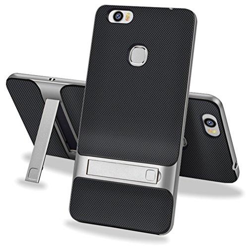 MOONCASE Huawei Honor Note 8 Hülle, Hybrid Kratzfeste stoßdämpfende TPU +PC Bumper Frame Dual Layer Tasche Schutzhülle mit Ständer für Huawei Honor Note 8 (Schwarz Grau)