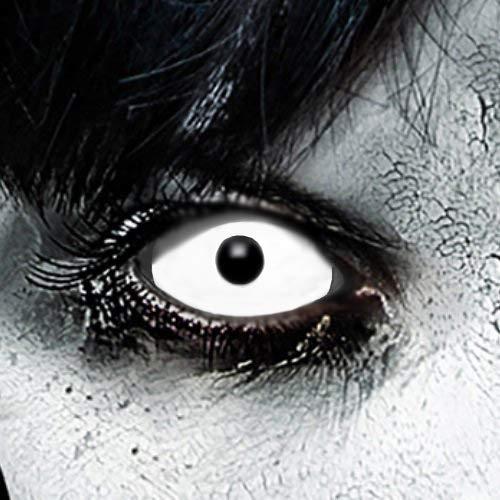 Zombie Sclera-Markenqualität- 1 PAAR-D-22mm-weiß Linsen,Cosplay, Larp, Zombie, Kontaktlinsen, Crazy Funlinsen, Halloween, Fastnacht,Vampir ()