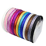 HugeDE 10 Stück Glitter Bedeckt Haarreifen Stirnband Haarspange Haarband für Mädchen
