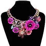 Yogogo Mischart Kette Kristall Bunt Blume Luxus Weben Halskette für Frauen (Lila)