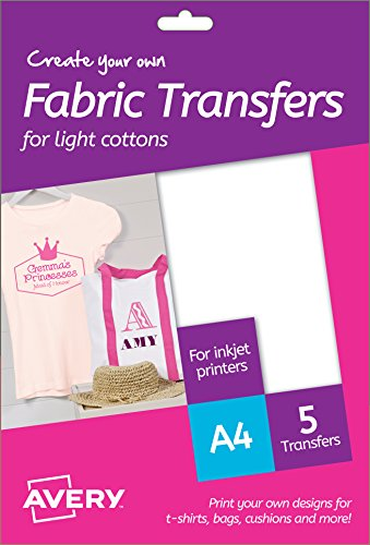 Avery MD1001 A4 Printable Fabric Transfers for Light Cottons, Inkjet Printers Only - 5 x A4 Transfers per Pack
