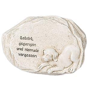 Tiergrabstein Gedenkstein für verstorbenen Hund mit Trauerspruch 12cm