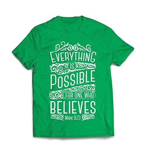 Lepni.me maglietta da uomo gesù cristo: tutto è possibile per chi crede - religione cristiana, fede, bibbia - pasqua - risurrezione (small verde