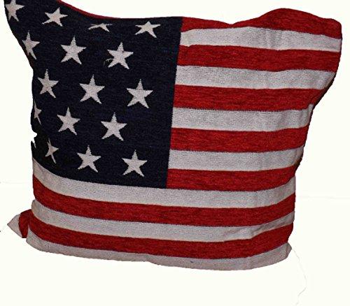 Federa per Cuscino in Ciniglia Stampa Bandiera Americana Stars & Stripes Rossa Bianca e Blu 45 cm