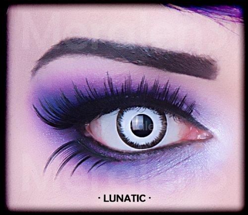 1 Paar farbige weiche weisse schwarze Lunatic Vampir Jahres Kontaktlinsen. Weiss mit schwarzem Rand 1 Paar. Topqualität zu Halloween, Fasching, Fastna by RIVENBERT