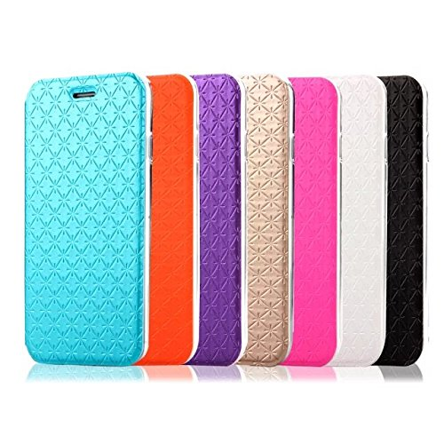 Wkae Case Cover Ultra Thin étui de protection en diamant Lattice Motif étui en cuir PU souple TPU Housse Support Case Avec fente pour carte pour IPhone d'Apple 6 6s ( Color : Black , Size : IPhone 6/6 Purple