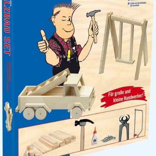 Kinder Holz Bausatz Auto / Fahrzeug inkl. Vollholz Material und Werkzeug Holzbausatz