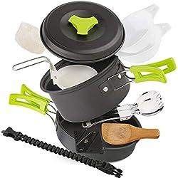 EXTSUD Kit de Casseroles Camping Légère 12pcs Ustensiles de Cuisine Portable pour Camping Randonnée Bushcraft Survie Pique-Nique Pêche Outdoor pour 1 à 2 Personnes, Certifié FDA
