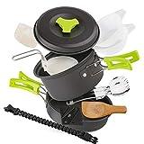 EXTSUD Camping Kochgeschirr Campinggeschirr Ultraleicht Picknick 12-Teilig Cookware Kit mit feuersteine socken und Kartenmesser für Outdoor Reise Camping 1 Person FDA zertifiziert