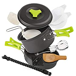 EXTSUD Camping Kochgeschirr Campinggeschirr Ultraleicht Picknick 12-Teilig Cookware Kit mit feuersteine Armbänder und Kartenmesser für Outdoor Reise Camping 1 Person FDA zertifiziert