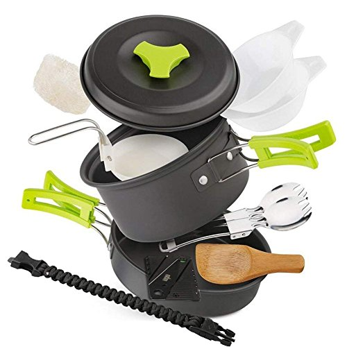 EXTSUD 11 PCS Camping Cookware Kit, Backpacking Gear & Hiking, Fishing Outdoors Cooking Equipment Ultralight Cooking Set with Compact & Durable Pot Pan Bowls Folding Spork Nylon Bag