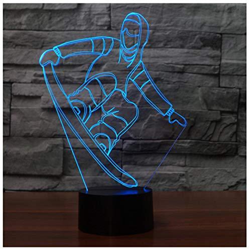 3D Snowboard Tischlampe Usb Visuelle Led Bunte Nachtlicht Schlaf Beleuchtung Skifahren Fixtureyear Geschenke Touch Schalter