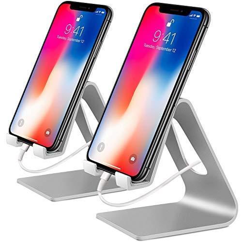 COOLOO Handy Ständer, 2 Pack Handy Halterung Handyhalter Kompatibel iPhone XR XS Max X 8 7 6s Plus 5s 4s, Tisch Zubehör, E-Reader, andere Smartphone