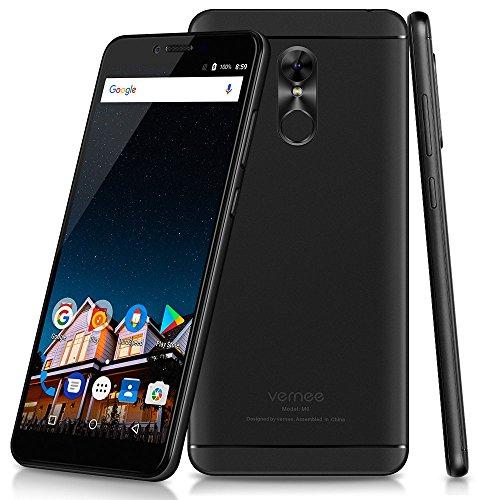 Vernee M6   4G LTE Smartphone 5.7 pulgadas de Pantalla Completa 18: 9 Ratio Octa core 4GB RAM +64 GB ROM 3000mAh Android 7.0 Cámaras Duales 16.0MP + 8.1MP Cuerpo Ultra Delgado WIFI de Huella Digital GPS   Negro