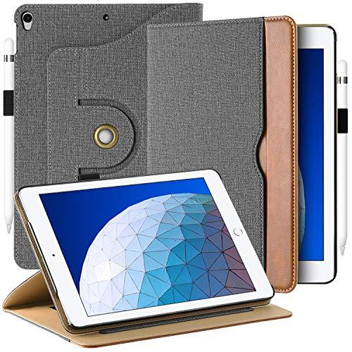 360-grad-air (EasyAcc Leder Hülle für iPad Air 3 2019/ iPad Pro 10.5, 360 Grad Drehung mit Stifthalter, Premium PU Leder ohne Plastik, Multi-Winkel Standfunktion und Auto Wake/Sleep Cover, Grau)