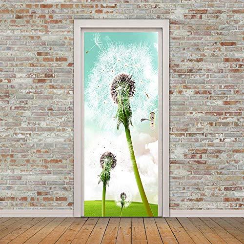 Türaufkleber, 3D-Aufkleber für Innentüren White Dandelion Patterns Selbstklebende Wandbilder für Türen Türrenovierung Wandkunstaufkleber für Wohnzimmer Schlafzimmer-M -