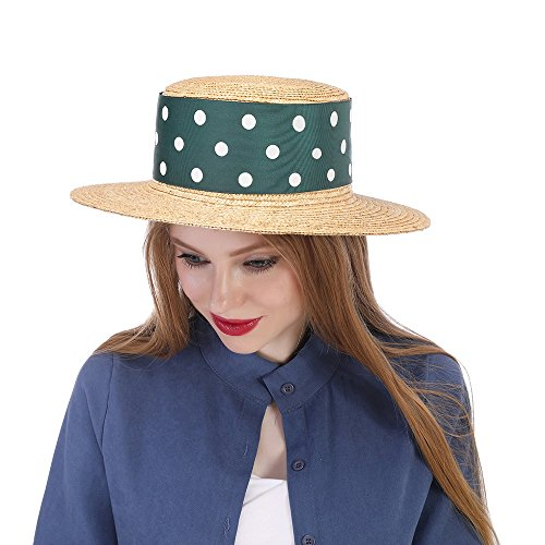 YAJIE Straw Sun Hat, Mujeres con Green Ribbon Boater Sunhat Pork Pie Lady (Color : Natural, tamaño : 57-58cm)