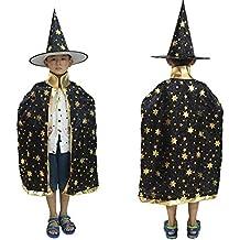 Eizur Bambini Halloween Mantello con Cappello Strega/ Mago Cappotto Raso Wicca Robe Cape Medievale Scialle Masquerade Costumi Cosplay Accessori - Nero - Stars Il Partito Collare