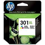 HP 301XL Cartouche d'Encre Trois Couleurs (Cartouche Cyan, Magenta, Jaune) Grande Capacité Authentique (CH564EE)