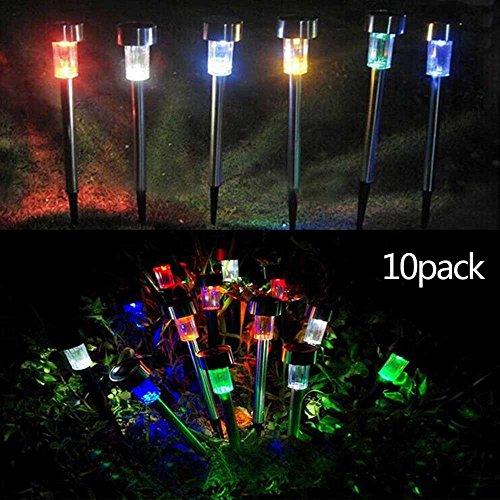 XIHAB Solar-Edelstahl-Rasen Beleuchtet LED 10 Satz-Garten-Gehweg Im Freien Wasserdichte Licht-Rohr-Landschaftslampe-7 Farblichter (1 Licht 8 Cast)