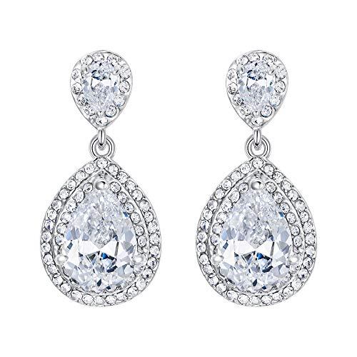Ever Faith Bling CZ österreichischen Kristall Braut Pireced Ohrring Schmuck Silber-Ton N04154-1