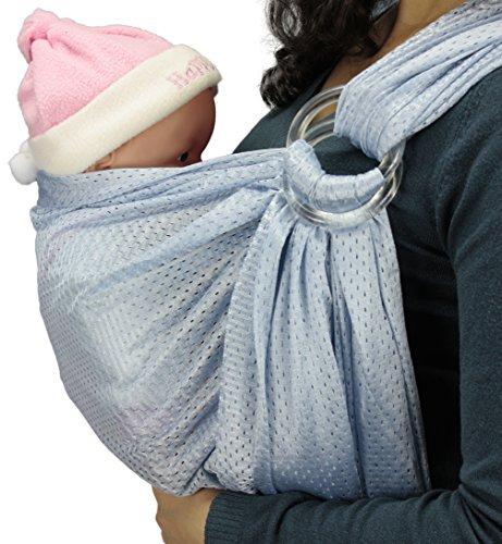 Baby Wassersling Badesling Ringsystem Ring Slim Carrier Tragetuch Bauchtrage (Hellblau) Slim Carrier