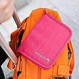 MZP bolsa de admisión de viajes combinados pasaporte de Corea del párrafo corto multifuncionales bolsa bolsa de almacenamiento de la tarjeta del certificado titular del pasaporte del paquete hombres y mujeres , rose red
