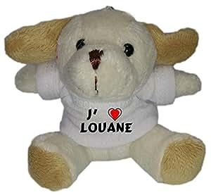 Peluche chiot porte-clé avec J'aime Louane (Noms/Prénoms)
